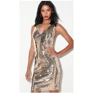 Lulu's Silver Sequence Midi Dress